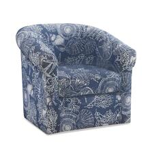 Swivel Club Chair, Blue and Off-white