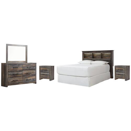 Ashley - Queen/full Bookcase Headboard With Mirrored Dresser and 2 Nightstands
