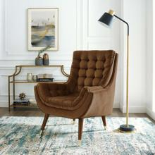 Suggest Button Tufted Performance Velvet Lounge Chair in Brown