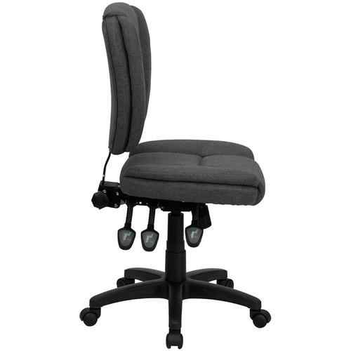 Gallery - Mid-Back Gray Fabric Multifunction Swivel Ergonomic Task Office Chair with Pillow Top Cushioning