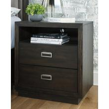 Hyndell Two Drawer Night Stand Dark Brown