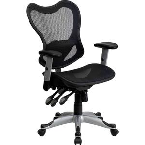 Mid-Back Transparent Black Mesh Multifunction Executive Swivel Chair with Adjustable Arms