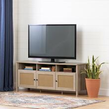TV Stand - Rustic Oak and Faux Printed Rattan