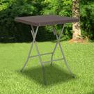 1.95-Foot Square Brown Rattan Plastic Folding Table Product Image