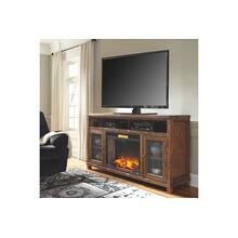 Tamonie - Rustic Brown 2 Piece TV Stand w/ Fireplace Insert