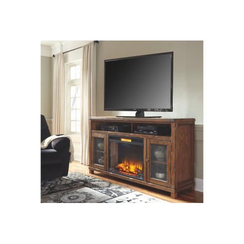 Ashley Furniture - Tamonie - Rustic Brown 2 Piece TV Stand w/ Fireplace Insert