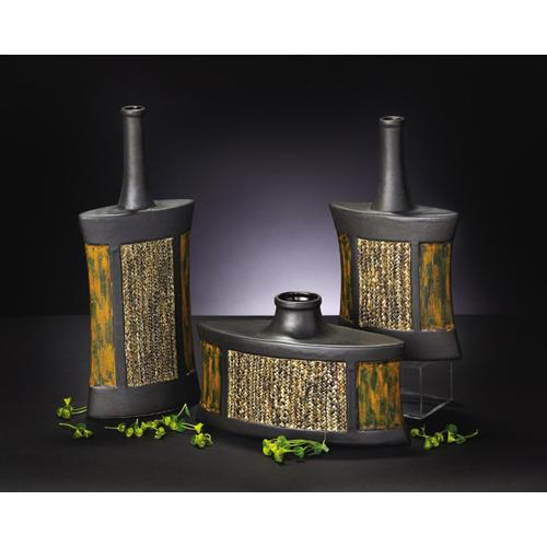 Flask Vase Set with Rattan Accents