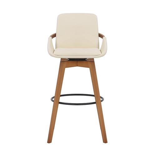 "Baylor 30"" Bar Height Swivel Barstool with Walnut Finish and Cream Faux Leather"