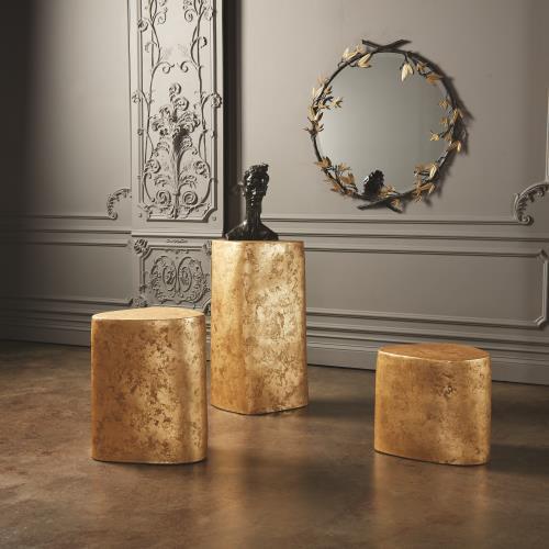 Organic Ceramic Pedestal-Gold Leaf-Sm