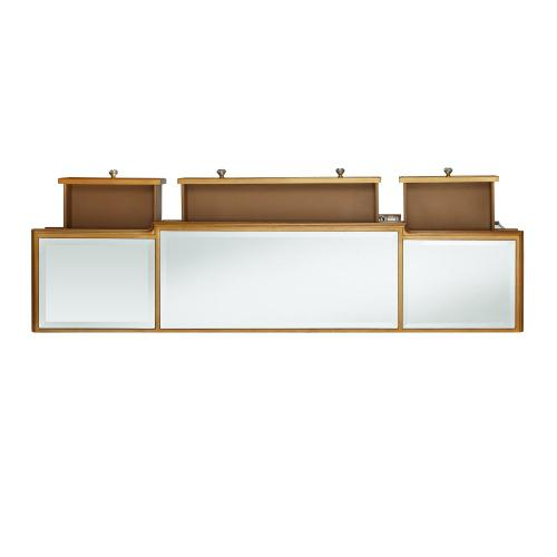 Console 3-drawers and 4-doors Mirrored Console, Gold
