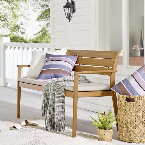 Viewscape Outdoor Patio Ash Wood Loveseat in Natural Taupe
