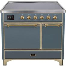 Majestic II 40 Inch Electric Freestanding Range in Blue Grey with Brass Trim