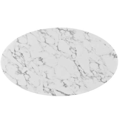 """Modway - Lippa 48"""" Oval-Shaped Artificial Marble Coffee Table in White"""