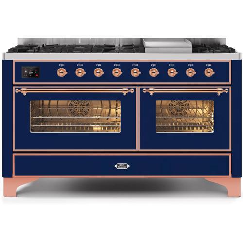 Product Image - Majestic II 60 Inch Dual Fuel Liquid Propane Freestanding Range in Blue with Copper Trim