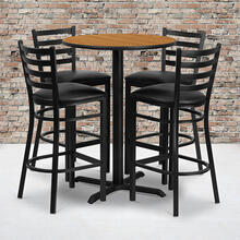 30'' Round Natural Laminate Table Set with X-Base and 4 Ladder Back Metal Barstools - Black Vinyl Seat