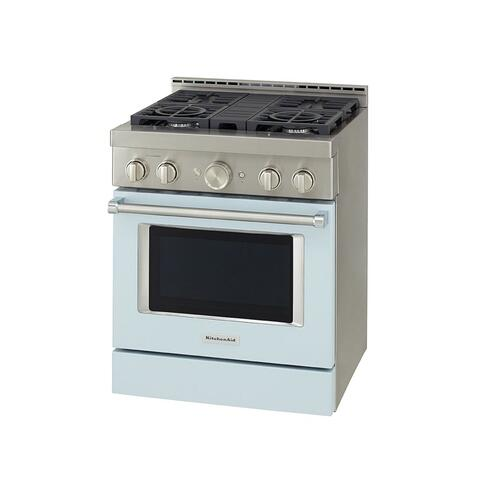 KitchenAid® 30'' Smart Commercial-Style Gas Range with 4 Burners - Misty Blue