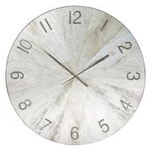 MATTE OAK  45in w X 45in ht X 2in d  Metal and Wood Transitional Wall Clock with White Washed Oak