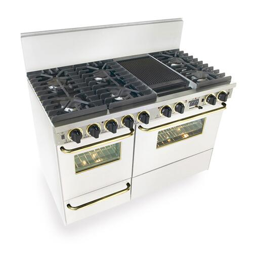 """48"""" Dual Fuel, Convect, Self Clean, Sealed Burners, White with Brass"""