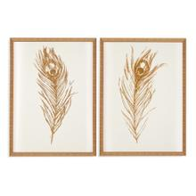 2 Pc Gold Foil Feather