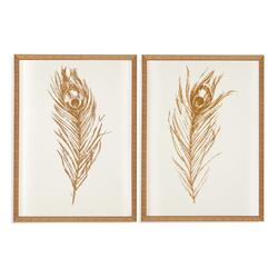 2 Pc Gold Foil Feather