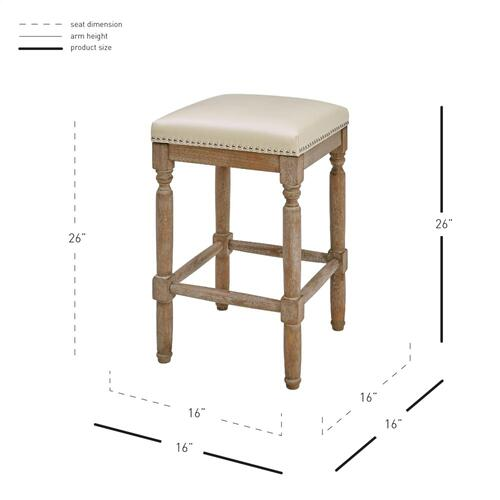 Ernie KD Bonded Leather Counter Stool Drift wood Legs, Beige