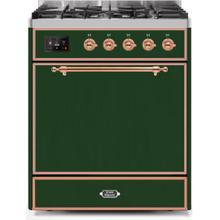 See Details - Majestic II 30 Inch Dual Fuel Liquid Propane Freestanding Range in Emerald Green with Copper Trim