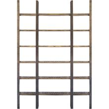 Taunton I 80L x 10.5W x 90H Brown Wood and Black Iron Six Shelving Unit
