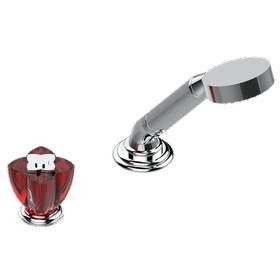 Deck mounted mixer with handshower, progressive cartridge