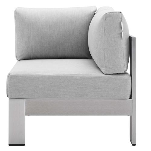 Shore Sunbrella® Fabric Aluminum Outdoor Patio Corner Sofa in Silver Gray