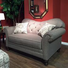 See Details - Metropolitan Dark Beige Fabric Upholstery Wood Frame Loveseat with Pillows