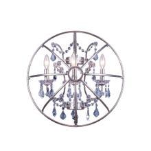 Geneva 3 light Polished nickel Wall Sconce Silver Shade (Grey) Royal Cut crystal