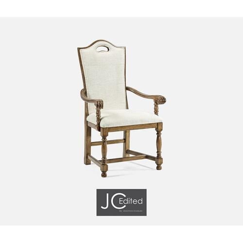 High Back Medium Driftwood Dining Arm Chair, Upholstered in Shambala
