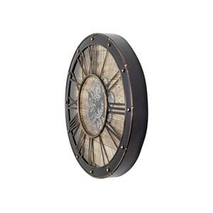 Yosemite Home Decor - Round Venetian Woodgrain Gear Clock