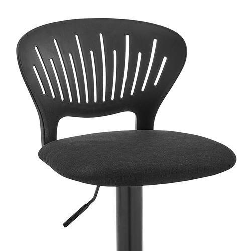 Armen Living - Padua Adjustable Black Upholstery Swivel Stool