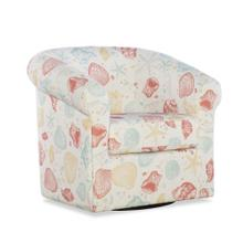 Upholstered Linen Swivel Seashell Club Chair, Multi