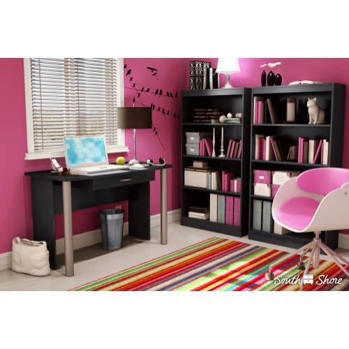 4-Shelf Bookcase - Pure Black