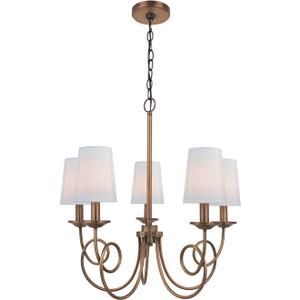 5-lite Chandelier, Ant. Copper/fabric Shade, E12 B 60wx5