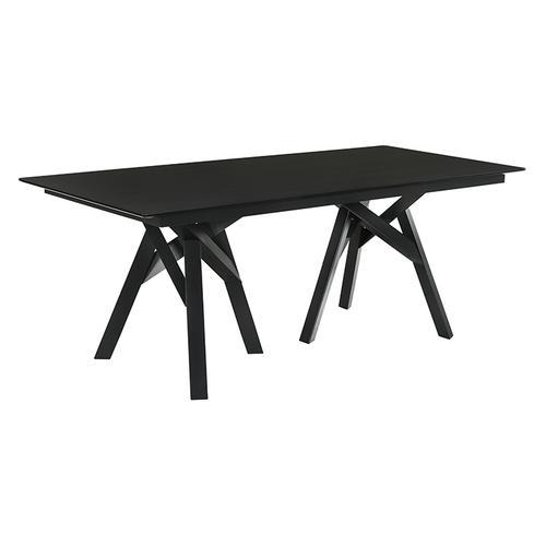 "Armen Living - Cortina 79"" Mid-Century Modern Black Wood Dining Table with Black Legs"