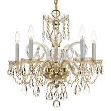 Traditional Crystal 5 Light Cr ystal Brass Chandelier