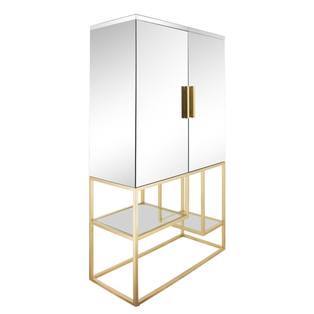 "See Details - Metal, 63""h Cabinet, Gold"