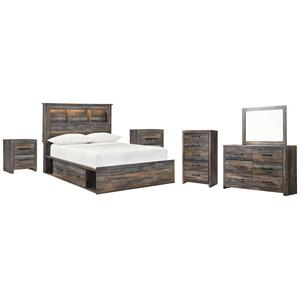 Full Bookcase Bed With 2 Storage Drawers With Mirrored Dresser, Chest and 2 Nightstands