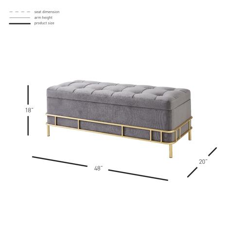 La Jolla Velvet Fabric Tufted Storage Bench, Serene Dark Gray/ Gold