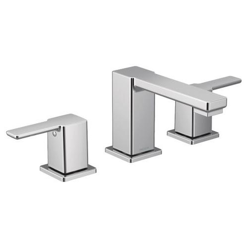 90 Degree chrome two-handle bathroom faucet