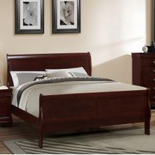 See Details - Isola Louis Philippe QUEEN & KING Size Solid Wood Construction Sleigh Bed Cherry Finish, Queen