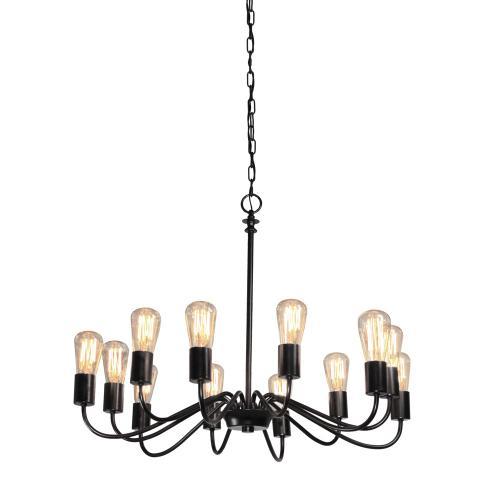 Artcraft - Vintage 12 Light Black Chandelier