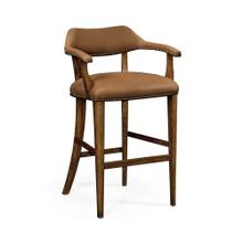 See Details - Walnut Library Bar Stool, Upholstered in Light Brown Leather