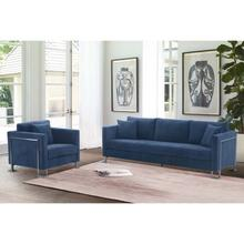 Product Image - Heritage 2 Piece Blue Fabric Upholstered Sofa & Chair Set