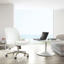 Mid-back Faux Leather Office Chair With Modern Chrome Base