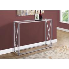 "ACCENT TABLE - 42""L / CHROME METAL WITH TEMPERED GLASS"