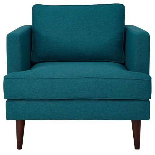 Agile Upholstered Fabric Armchair in Teal